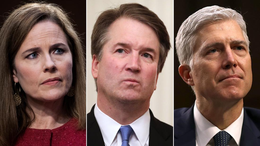 Justices Amy Coney Barrett, Brett Kavanaugh and Neil Gorsuch