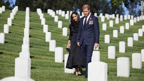 Harry and Meghan recognize Remembrance Sunday at Los Angeles National Cemetery on November 8.