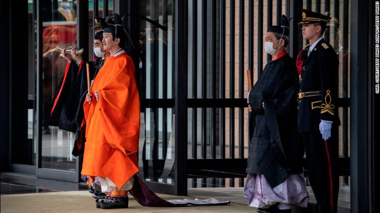 Japan's Crown Prince Akishino leaves the Imperial Palace after being declared heir to the throne on November 8 in Tokyo.