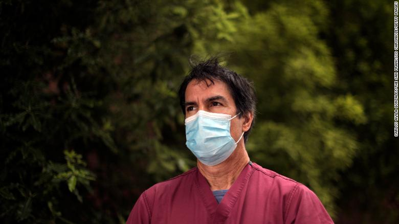 Dr. Robert Rodriguez, an emergency room doctor at San Francisco General Hospital, in front of the hospital in San Francisco on Monday, July 20, 2020.