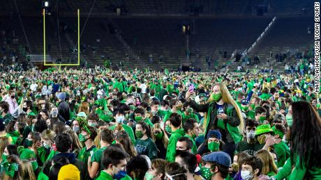 Students stormed the field following Notre Dame's win over Clemson on Saturday night.