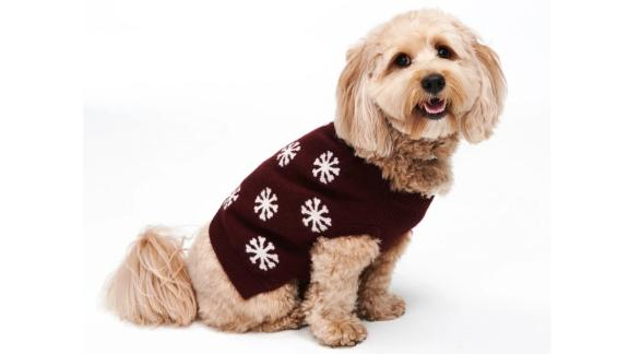 Reversible Cashmere Snowflake Dog Sweater