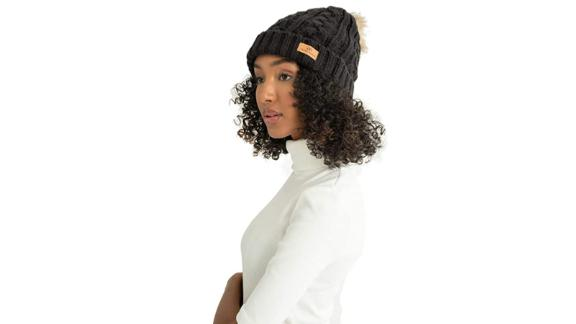 Grace Eleyae GE Warm Knit Foldover Satin-Lined Beanie With Faux Fur Pom