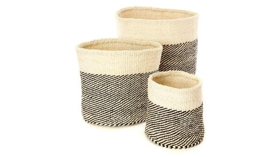 Mandinka Nene 3-Piece Basket Set in Black and Cream