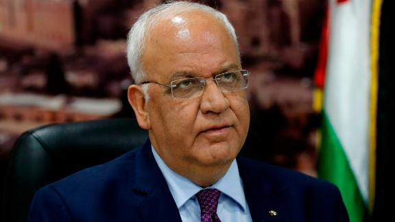 """Saeb Erekat, secretary general of the Palestine Liberation Organisation, speaks to journalists in the West Bank city of Ramallah on September 1, 2018 - Palestinians reacted angrily today to a US decision to end all funding for the UN agency that assists millions of refugees, seeing it as a new policy shift aimed at undermining their cause. Chief Palestinian negotiator Saeb Erekat said the American administration was invalidating future peace talks by """"preempting, prejudging issues reserved for permanent status"""" negotiations. (Photo by AHMAD GHARABLI / AFP)        (Photo credit should read AHMAD GHARABLI/AFP via Getty Images)"""