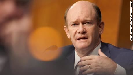 Sen. Chris Coons asks a question to Secretary of State Mike Pompeo as he testifies during a Senate Foreign Relations committee hearing on July 30, 2020.
