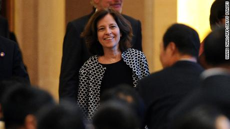 US Deputy Secretary of the Treasury Sarah Bloom Raskin attends the opening ceremony of the APEC Finance Ministers' Meeting in Beijing on October 22, 2014.