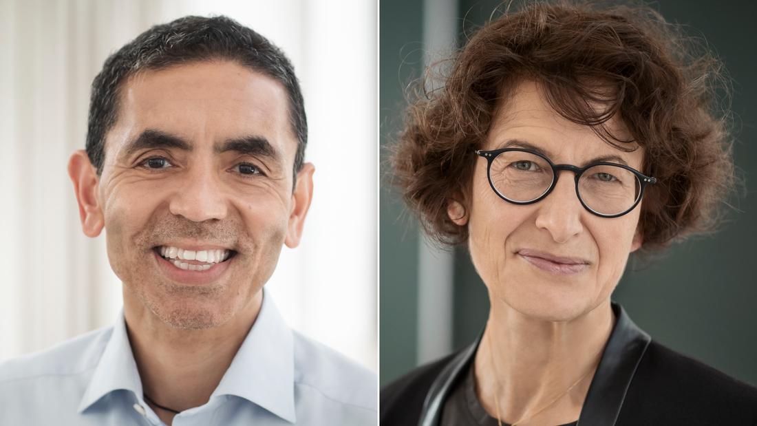 The Turkish-German couple behind the BioNTech vaccine, Ugur Sahin (left), BioNTech's CEO, and Özlem Türeci, its chief medical officer.