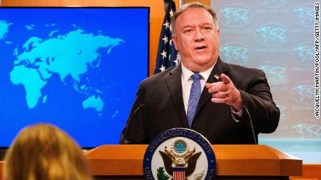 US Secretary of State Mike Pompeo gestures toward a reporter while speaking about the counting of votes in the US election during a briefing, on November 10, 2020, at the State Department in Washington,DC. Secretary of State