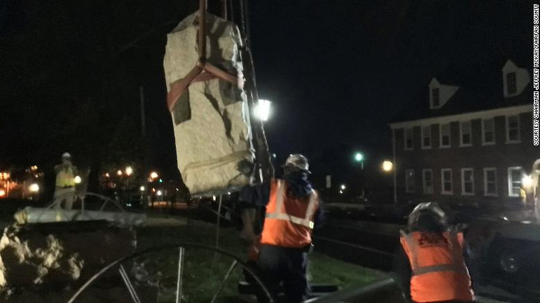 Fairfax County removes Confederate monuments that long stood outside its courthouse