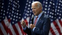 Joe Biden speaks during the 2020 Gun Safety Forum hosted by gun control activist groups Giffords and March for Our Lives at Enclave on October 2, 2019 in Las Vegas.