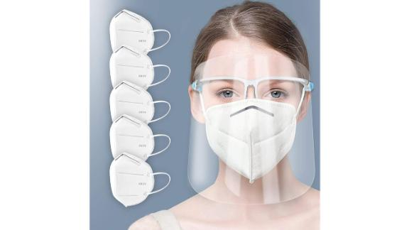 ArtToFrames Protective Face Shield, Mask and Glasses Set