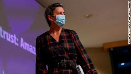 The European Commission's Margrethe Vestager arrives to give a press conference on Amazon in Brussels on Nov. 10.