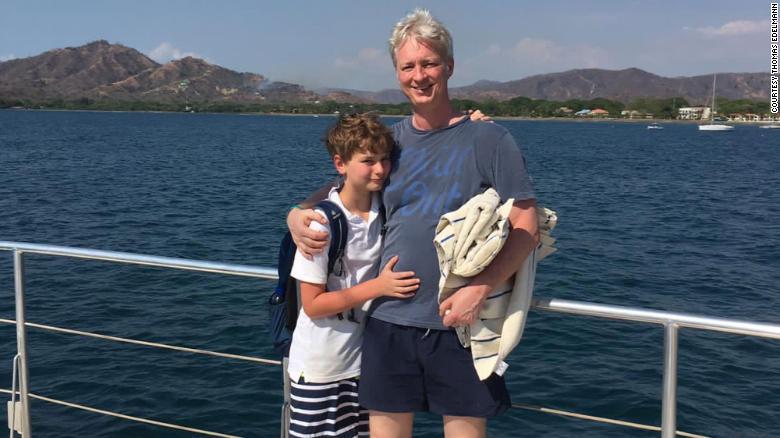 Thomas Edelmann e suo figlio Finn, che ora ha 15 anni