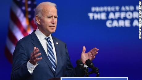 """US President-elect Joe Biden delivers remarks at The Queen in Wilmington, Delaware, on November 10, 2020. - President-elect Joe Biden said November 10, 2020 he had told several world leaders that """"America is back"""" after his defeat of Donald Trump in last week's bitterly contested US election. (Photo by Angela Weiss / AFP) (Photo by ANGELA WEISS/AFP via Getty Images)"""