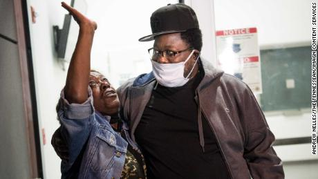 Joseph Webster greets his mother, Marie Burns, as he is released from prison in Nashville, Tennessee, on Nov. 10, 2020.