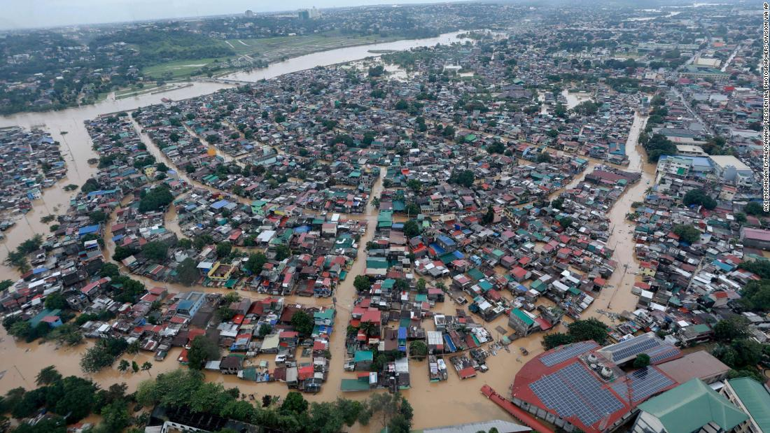 In this photo provided by the Malacanang Presidential Photographers Division, flood waters inundate Manila, Philippines, on November 12.
