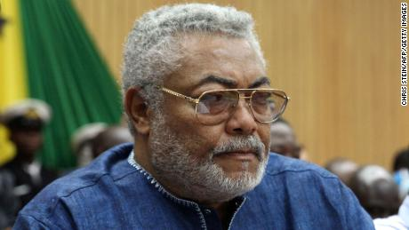 Ghana's former President, Jerry Rawlings, attends the State of the Nation address at the Parliament on February 25, 2014 in Accra, Ghana.