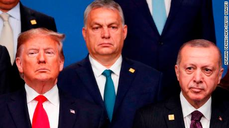 US President Donald Trump, from left, with Hungarian Prime Minister Viktor Orbán and Turkish President Recep Tayyip Erdogan at the NATO summit in London on December 4, 2019.