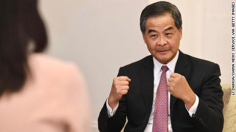 Former Hong Kong chief executive Leung Chun-ying speaks to the media after a celebration of the 40th anniversary of the establishment of the Shenzhen Special Economic Zone on October 14, 2020, in Hong Kong, China.