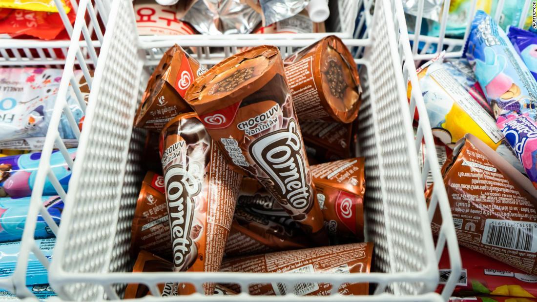 Cornetto ice cream cones in a freezer in Bangkok, Thailand in December 2019.