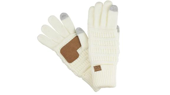 C.C. Cable Knit Anti-Slip Gloves