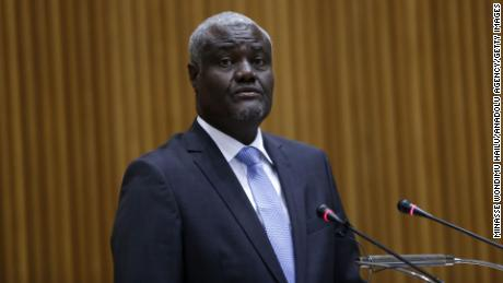 Moussa Faki Mahamat, chairman of the African Union Commission, painted in February 2020.