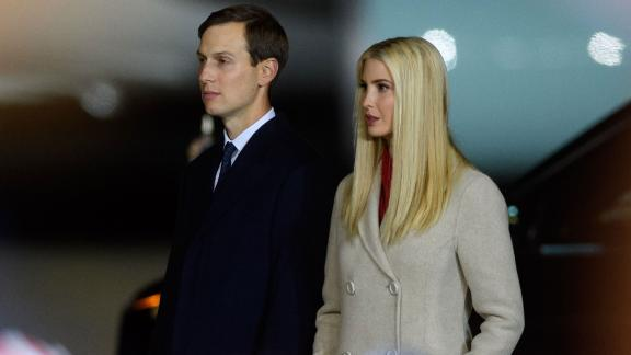 MOON TOWNSHIP, PA - SEPTEMBER 22: Ivanka Trump and Jared Kushner listen as President Donald Trump speaks at a campaign rally at Atlantic Aviation on September 22, 2020 in Moon Township, Pennsylvania. Trump won Pennsylvania by less than a percentage point in 2016 and is currently in a tight race with Democratic nominee, former Vice President Joe Biden. (Photo by Jeff Swensen/Getty Images)