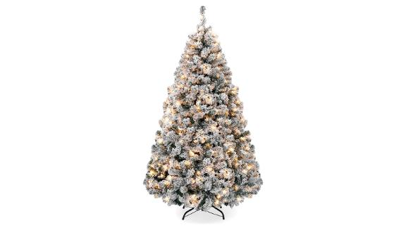 Best Choice Products 9-Ft Snow Flocked Artificial Pine Christmas Tree