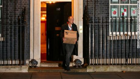 Dominic Cummings, special adviser to UK prime minister Boris Johnson, carries a box as he departs from No 10 Downing Street in London on Friday 13.