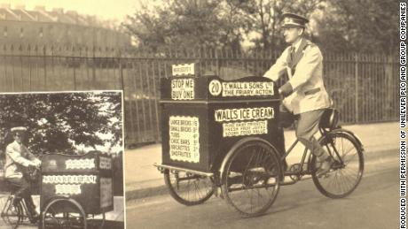Wall's ice cream salesmen in Britain in 1922 (left) and 1938 (right).