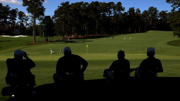 A general view as Collin Morikawa of the United States walks on the second green at Augusta National.