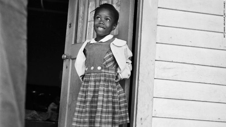 Ruby Nell Bridges, 6, was the first African American child to attend William Franz Elementary School in New Orleans after federal courts ordered the desegregation of public schools.