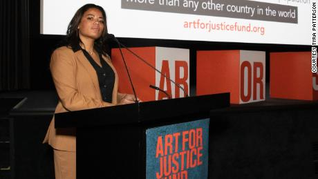 Patterson after giving a speech for the Art for Justice Fund.