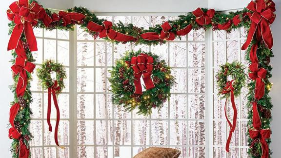 Frontgate Christmas Cheer Wreath With Red Bow