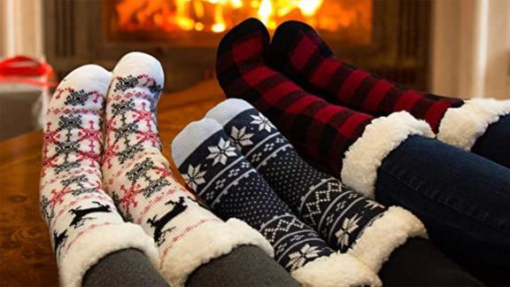 Treehouse Fleece-Lined Thermal Fuzzy Slipper Socks, 2-Pack