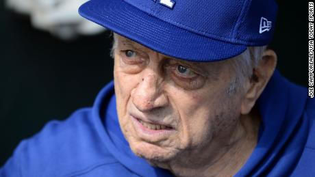 Former manager Tommy Lasorda, the face of the Dodgers, has been hospitalized in California.