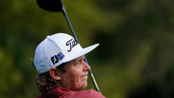 Cameron Smith, of Australia, watches his tee shot on the ninth hole during the final round on his way to a tie for second place.