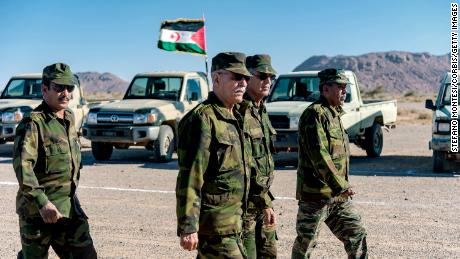 Brahim Ghali, leader of the independentist Polisario Front, in the north-east of Western Sahara on January 6, 2019 in Mehaires, Western Sahara.