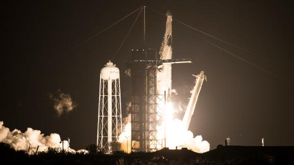 A SpaceX Falcon 9 rocket carrying the company's Crew Dragon spacecraft is launched on NASA's SpaceX Crew-1 mission to the International Space Station with NASA astronauts Mike Hopkins, Victor Glover, Shannon Walker, and Japan Aerospace Exploration Agency astronaut Soichi Noguchi onboard, Sunday, Nov. 15, 2020, at NASA's Kennedy Space Center in Florida. NASA's SpaceX Crew-1 mission is the first crew rotation mission of the SpaceX Crew Dragon spacecraft and Falcon 9 rocket to the International Space Station as part of the agency's Commercial Crew Program. Hopkins, Glover, Walker, and Noguchi launched at 7:27 p.m. EST from Launch Complex 39A at the Kennedy Space Center to begin a six month mission onboard the orbital outpost. Photo Credit: (NASA/Joel Kowsky)