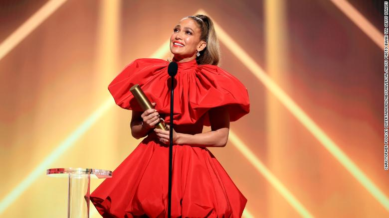 Jennifer Lopez, People's Icon of 2020, accepts the award onstage for the 2020 E! People's Choice Awards on Sunday. (Photo by Christopher Polk/E! Entertainment/NBCU Photo Bank via Getty Images)
