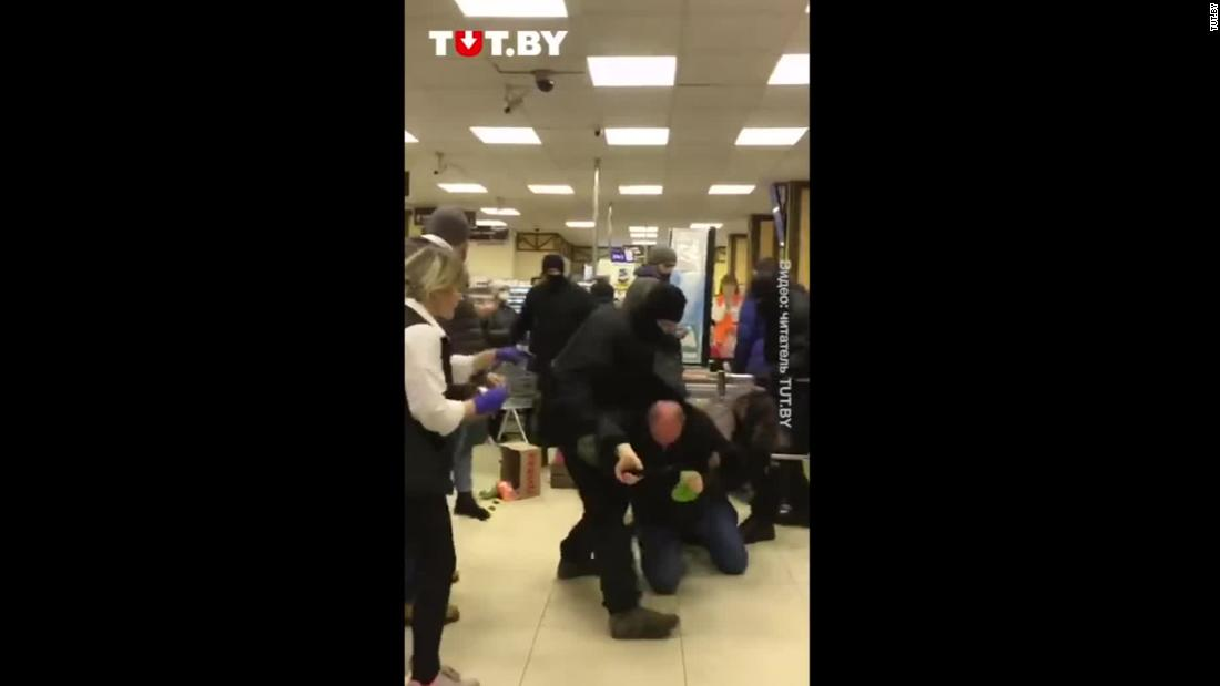 Video shows Belarus police beating protesters inside supermarket