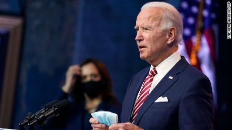 President-elect Joe Biden, accompanied by Vice President-elect Kamala Harris, speaks about economic recovery at The Queen theater, Monday, November 16, in Wilmington, Delaware.