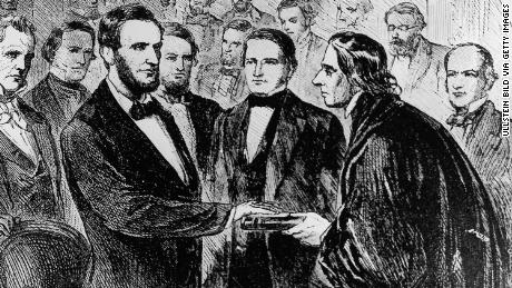 Abraham Lincoln's inauguration as 16th President of the United States at Washington, D.C., with outgoing President James Buchanan and Chief Justice of the United States Roger Brooke Taney.