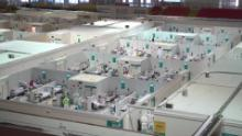 The Krylatskoye Ice Palace, which has been converted into a coronavirus field hospital in Moscow.