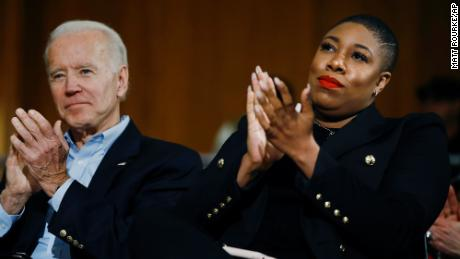 Democratic presidential candidate, former Vice President Joe Biden and senior adviser Symone Sanders participate in a campaign event in Iowa City, Iowa, on January 27, 2020.