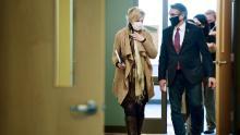 Dr. Deborah Birx, White House Coronavirus Response Coordinator, left, with North Dakota Gov. Doug Burgum in North Dakota on Oct. 26.