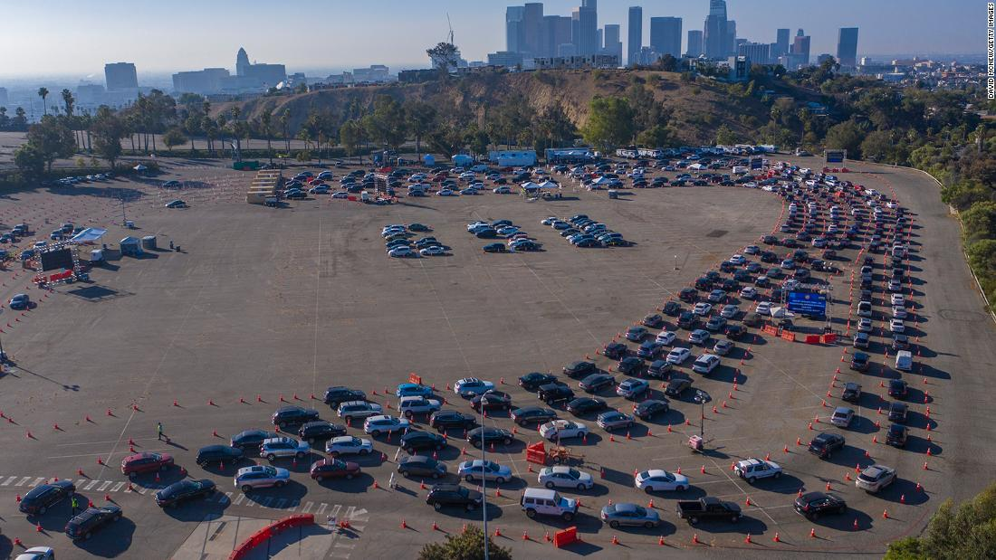 Cars line up at Los Angeles' Dodger Stadium for Covid-19 testing on November 14.