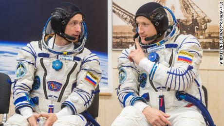 (From left) Expedition 64 Russian cosmonauts Sergey Ryzhikov and Sergey Kud-Sverchkov of Roscosmos will conduct their first spacewalk.