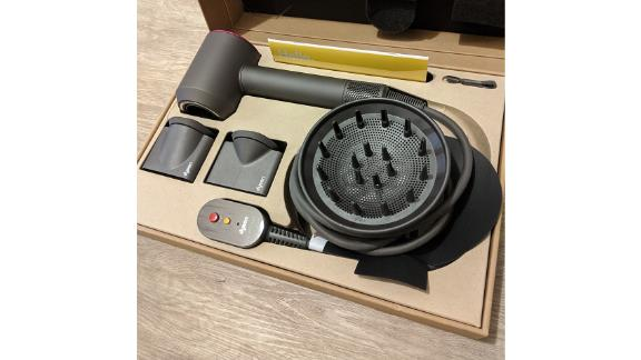 The Dyson Supersonic upon arrival in its box, with attachments
